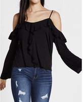Express Cold Shoulder Ruffle Bell Sleeve Blouse