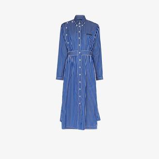 Prada Striped button-down cotton poplin midi dress