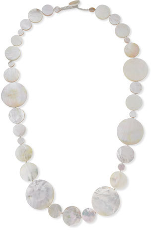 Viktoria Hayman Long Mother-of-Pearl Disc Necklace, 42""