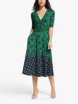 Boden Jersey Midi Dress, Green/Bloom Stamp