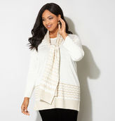 Avenue Chevron Shimmer Pullover with Scarf