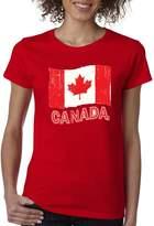 VISHTEA Canada National Flag Retro Ladies T-Shirt Distressed Flag Eh Team Shirts 1033