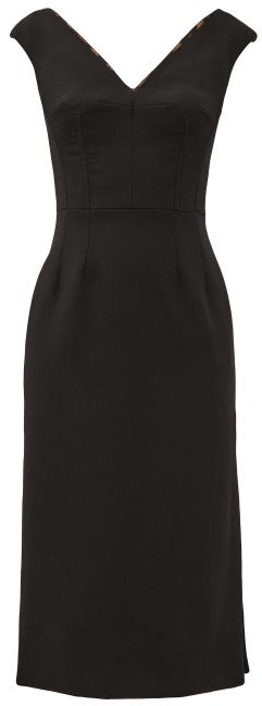 Dolce & Gabbana V-neck Tailored Wool-blend Dress - Black