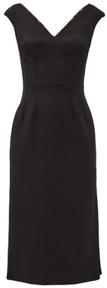 Dolce & Gabbana V-neck Tailored Wool-blend Dress - Black