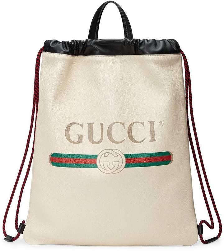 8d3058b752c Print leather drawstring backpack