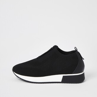 River Island Womens Black knit half zip cleated runner trainers