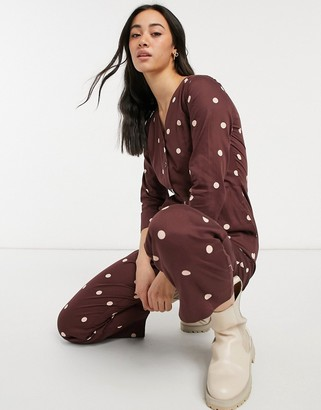 People Tree organic relaxed jumpsuit in spot print