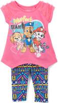 Children's Apparel Network PAW Patrol Pink Top & Blue Geometric Leggings - Toddler