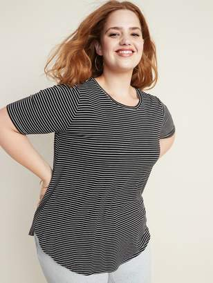 Old Navy Luxe Striped Elbow-Sleeve Plus-Size Tunic Tee