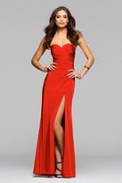 Faviana Classic Strapless Sweetheart Satin Gown with Side Drapes 7891E