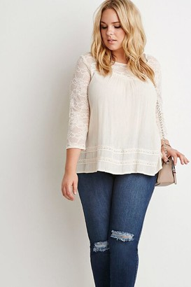 Forever 21 Floral Lace-Paneled Crinkled Blouse