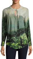 Tracy Reese D-Ring Silk Printed Tunic
