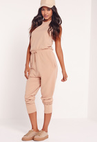 Missguided Loop Back Sleeveless Romper Camel