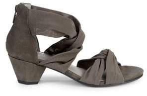 Eileen Fisher Joy Twist-Strap Heeled Sandals