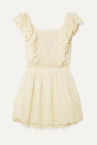 LoveShackFancy Dora Ruffled Broderie Anglaise Cotton Mini Dress - Pastel yellow