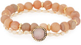 Panacea Druzy & Crystal Stretch Bracelets, Set of 2, Peach