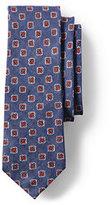 Lands' End Men's Long Printed Linen Foulard Necktie-Steeple Gray/Indigo Slate