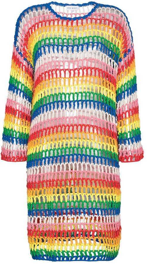 Mira Mikati Rainbow Open Hand Crochet Dress