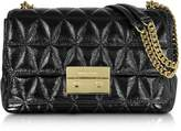 Michael Kors Sloan Large Black Quilted Patent Leather Chain Shoulder Bag