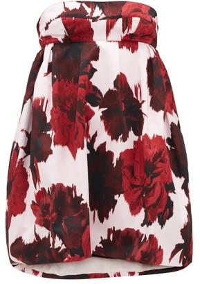 Alexandre Vauthier Strapless Floral-print Cotton Mini Dress - Womens - Red Print