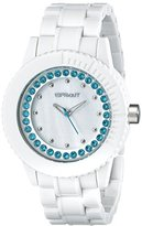 Sprout Women's ST/6504MPBL Blue Swarovski Crystal Accented White Corn Resin Bracelet Watch