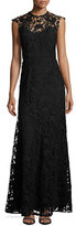 Shoshanna Raven Sleeveless Guipure Lace Gown