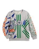 Kenzo Allover Logo Tiger Print Sweatshirt, Size 8-12