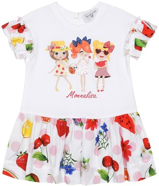 MonnaLisa Baby printed stretch-cotton dress