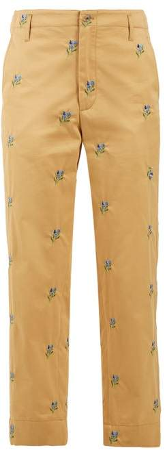 Golden Goose Floral Embroidered Straight Leg Twill Trousers - Womens - Beige Multi