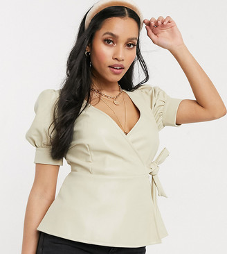 Vero Moda petite wrap top in faux leather in cream