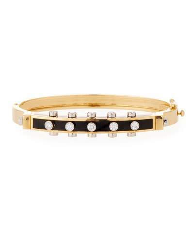 "David Webb Motif"" Studlette 18k Gold & Enamel Bangle Bracelet with Platinum-Set Diamonds, Black"