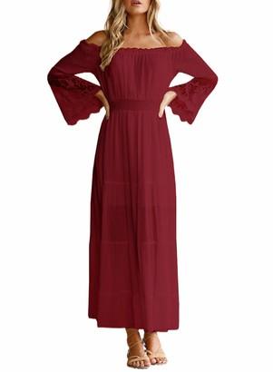 CORAFRITZ Women Off Shoulder Dress Long Sleeve Maxi Dress High Waist Summer Sundress Lace Patchwork Dress Blue