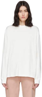 Essentials Off-White Reflective Long Logo Sleeve T-Shirt