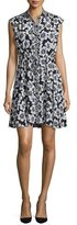 Kate Spade Collared Floral Silk-Blend Shirtdress, Black