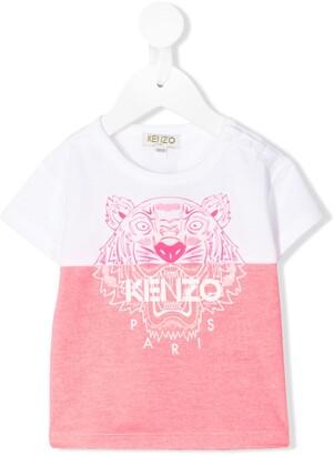 Kenzo Kids colour-block tiger T-shirt