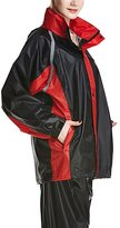 Liveinu Unisex Rainsuit Poncho With Transparent Extended Hood Red Black M