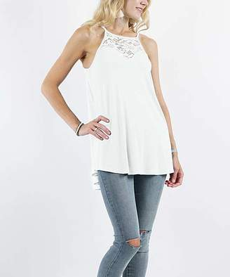 Lydiane Women's Tank Tops IVORY - Ivory Lace-Accent Hi-Low Halter Top - Women