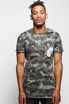 Boohoo Longline Camo T-Shirt with Roman Numerals