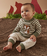 Wendy Bellissimo Oatmeal & Green Fox Sweater Set - Infant