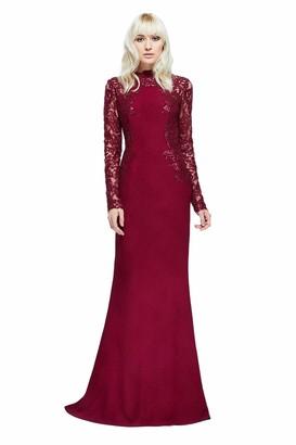Tadashi Shoji Women's L/S Sequin/Crepe Gown