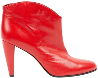Celine Red Leather Boots