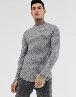 Asos Design DESIGN longline long sleeve t-shirt in interest rib with curved hem-Grey