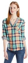 C&C California Women's Split Neck Crinkle Plaid Shirt