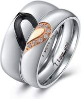 """Aienid Stainless Steel Matching """"Real Love"""" Puzzle Heart Wedding Promise Ring for Men Size 10"""