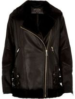 River Island Womens Black leather look aviator jacket