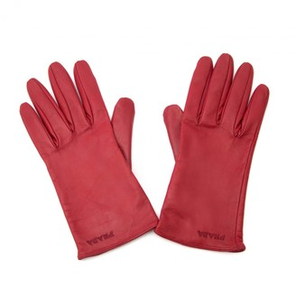 Prada Red Leather Gloves