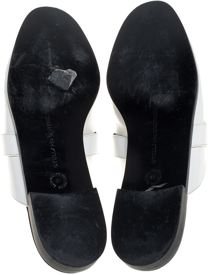 Thumbnail for your product : Stella McCartney White Faux Leather Holzer Slip On Loafers Size 41