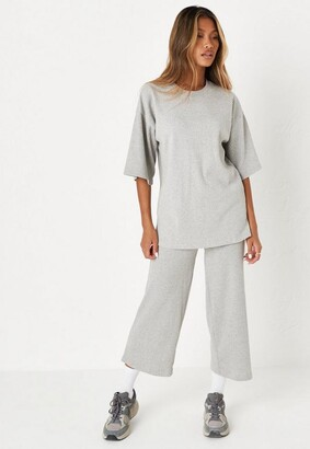Missguided Rib T Shirt and Culotte Co Ord Set