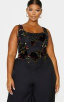 4fashion Plus Black Floral Velvet Corset Top