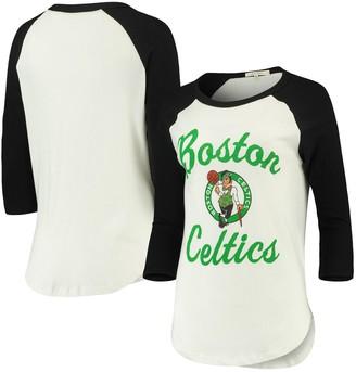 Junk Food Clothing Unbranded Women's Cream/Black Boston Celtics Fashion Liberty Raglan 3/4-Sleeve T-Shirt